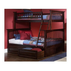 Atlantic Furniture - Columbia Twin Over Full Bunk Bed w Raised Pan - Finish: Antique WalnutNOTE: ivgStores DOES NOT offer assembly on loft beds or bunk beds. Designed for durability. Two 14 piece slat kits. Mortise and tenon construction. Twenty six steel reinforcement points. Guard rails match panel design. Compliance with ASTM F-1427 Standard Consumer Safety Specification for Bunk Beds and the Government Code of Federal Regulations 1213 and 1513. Warranty: One year. Made from eco-friendly solid hardwood. Clearance from floor without trundle or storage drawers: 11.25 in.. 80.5 in. L x 44.25 in. W x 68.13 in. H. Assembly Instruction-1. Assembly Instruction-2. Raised Panel Drawers Assembly Instructions. Bunk Bed Warning. Please read before purchase.