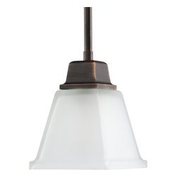 Progress Lighting - Progress Lighting North Park Transitional Mini Pendant Light X-47-5315P - Clean linear forms, twin arching arms and square etched glass shades create a modern interpretation of two blended styles. Craftsman and Mission. Available in either Brushed Nickel finish, for modern approach or Venetian Bronze finish, for classic look, this collection was developed to reflect the growing trend in Craftsman style architecture and newer hardware styles.