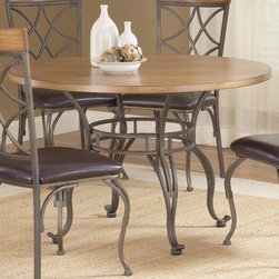 "Bernards - Sierra Metal / Wood Dinette Table - Perfect combination of metal and wood give this 45"" round dinette such a rustic and unique look.; Dimensions:45 Round ""W"