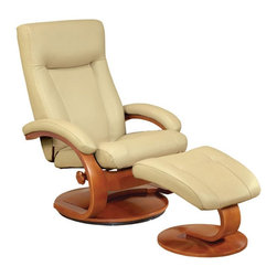 "Mac Motion - Oslo Collection Cobblestone Tan Top Grain Leather Swivel Recliner w/ Ottoman - This ""Oslo Collection"" model remains Norwegian Styling at it's best, with matching motion chair and ottoman. Features include 360 degree parameter swivel for stable seating and adjustable reclining back which is personalized by one single handle to any position. Matched to a contoured angle ottoman to complete the therapy seating of full body personalized comfort. All ""Oslo Collection"" models include ""MX-2"" memory foam, with 1"" over the top of solid cored foam seating for support and long lasting comfort. This model is covered in ""Top-Grain"" leather everywhere you touch, in a smooth ""Cobblestone"" color to match the warm ""Walnut"" wood frame finish. Complimented by the matching ottoman, this a number #1."