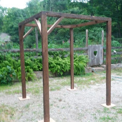 """Wedding Arbor - 6' x 6' x7' high wedding arbor made from 19th century 4""""x4"""" water sawn chestnut rafters. The arbor is fastened together with GRK bolts and easily comes apart for transport with a portable drill. Weighs in at about 50lbs"""
