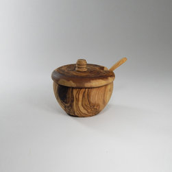Le Souk Olivique Olive Wood Covered Sugar Bowl With Spoon -