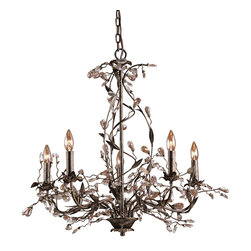 Elk Lighting - Elk Lighting ELK-8054-5 Circeo Transitional Chandelier - The magnetic influences of this winter garden collection is the intertwined branches accented by delicately cradled crystals that resemble frozen water droplets. This collection is featured in a Deep Rust finish.
