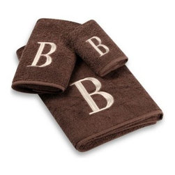 Avanti - Avanti Premier Ivory Block Monogram Bath Towel in Mocha - Classic and sophisticated, these monogrammed towels will add that subtle personal touch to your bathroom decor. Block letter is embroidered with great detail over an incredibly soft towel.