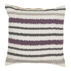 Blurry Stripes Throw Pillow - The brushed feel of these stripes makes this pillow pattern both sharp and soft. A deep, grayed lavender adds a nice touch to more neutral stripes.
