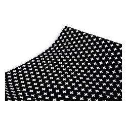 OLLI+LIME - Cross Changing Pad Cover - Black - Soft cotton changing pad cover in Nordic-inspired black and white cross design. Fits standard 32-inch contoured changing pad.
