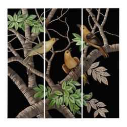 Z Gallerie - Bird Song Panel - Crafted from wood, hand-carved imagery of birds sitting in a tree fans across three panels painted in rich and colorful hues. Adorning walls with organic textures, fluid lines and vibrant hues, our Bird Song Panels layer a space with depth and dimension.  With the engraved imagery exposing the natural grain of this lightweight wood, our Bird Song Panel makes for a striking center piece.
