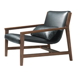 "Nuevo Living - Nuevo Living Bethany Lounger, Black Leather - The Bethany lounger in black leather features full leather upholstery with a birch frame.  The seat height is 14.25"" and seat depth is 27""."