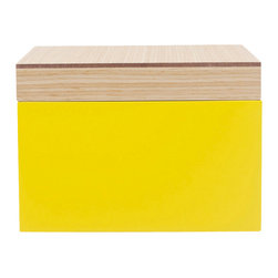 WOLF - Vaxholm Small Jewelry Box, Yellow - The Vaxholm Small Jewelry box is perfect for storing  your jewelry and small items. This petite box comes in a variety of fresh and vibrant colors including green, orange, white, aqua, yellow, and dark blue. Each small Vaxholm jewelry box contains one open compartment and is finished with a lacquered wooden top.