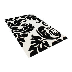 Alliyah Rugs - White & Black Contemporary Rug, Black, 9x12 - Alliyah Handmade New Zealand Blended Wool Rug withWhite & Black color. Hand  Washed,