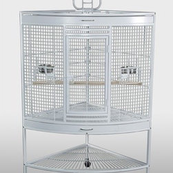 "Prevue Hendryx - Small Corner Bird Cage in White - White corner cage generous living space for birds, and space-saving corner fit for owners. Cage-top playpen, two front doors, top J88& bottom pull-out drawers for easy cleaning. Cage stand base features bottom storage shelf & easy-rolling casters. Includes 4 stainless steel cups, and 2 wood perches. -Includes 4 stainless steel cups, and 2 wood perches. -Cage stand base features bottom storage shelf & easy-rolling casters. -White finish. -Measures 37"" L x 27"" W x 63"" H. -Interior 35"" L x 24"" W x 27"" H. -9 & 12 gauge wire. -0.875"" spacing. -90 day warranty."