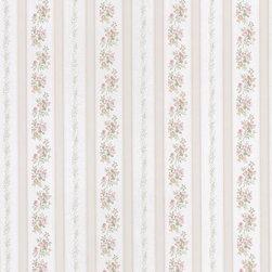 Brewster Home Fashions - Merle Beige Floral Stripe Wallpaper Bolt - A beautiful Victorian wallpaper design of an elegant floral stripe adorned in a sparkling satin finish.