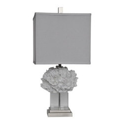 "Lamps Plus - Contemporary Crestview Collection Coral Palace White Table Lamp - Bring oceanside allure into your space with this contemporary coastal table lamp featuring soft white finish coral. This stylized naturalistic design sits atop a stand of gleaming clear crystal and is completed by a square gray linen shade. Revitalize your decor with this wonderful piece from Crestview Collection lighting. Coral motif transitional table lamp. White coral finish. Resin crystal and metal construction. Square gray linen shade. Clear crystal stand. Brushed silver finish square base. Takes one 100 watt 3-way bulb (not included). Shade measures 12"" across the top and bottom and 11"" high. 25"" high.  Coral motif transitional table lamp.  White coral finish.  Resin crystal and metal construction.  Square gray linen shade.  Clear crystal stand.  Brushed silver finish square base.  Takes one 100 watt 3-way bulb (not included).  Shade measures 12"" across the top and bottom and 11"" high.  25"" high."