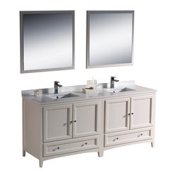 "Fresca - Fresca Oxford 72"" Antique White Double Sink Vanity - Dimensions of vanity:  72""W x 20.38""D x 32.63""H. Dimensions of mirror:  31.88""W x 31.88""H. Materials:  Solid wood frame, MDF panels, quartz stone countertop, ceramic undermount sinks w/ overflow. Single hole faucet mounts. 4 soft close doors. 2 soft close dovetail drawers. Seamless countertop w/ matching backsplash. P-traps, faucets, pop-up drains and installation hardware included. Blending clean lines with classic wood, the Fresca Oxford traditional bathroom vanity is a must-have for modern and traditional bathrooms alike.  The vanity frame itself features solid wood in a stunning antique white finish that's sure to stand out in any bathroom and match all interiors.   Available in many different finishes and configurations."