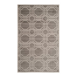 Safavieh - Bethel Indoor/Outdoor Rug, Grey / Light Grey 10' X 14' - Construction Method: Power Loomed. Country of Origin: Turkey. Care Instructions: Easy To Clean. Just Rinse With A Garden Hose. Coordinate indoor and outdoor living spaces with fashion-right Amherst all-weather rugs by Safavieh. Power loomed of long-wearing polypropylene, beautiful cut pile Amherst rugs are made to stand up to tough outdoor conditions, but designed with the aesthetics of indoor rugs. Use these family-friendly geometric designs on patios, in kitchens, busy family rooms and other high traffic rooms.