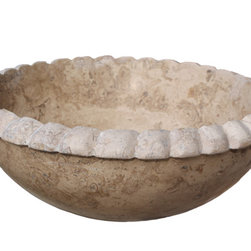 Rope Natural Stone Vessel Sink, Noce Travertine - The Rope Vessel Sink can be used as a drop-in sink or above the counter vessel sink.  The top rim has a rope effect enhancing the natural beauty of the sink.  This sink comes in a number of natural stone colors including limestone, light travertine, noce travertine, antico, beige marble and white (Afyon) marble. The sink pictured is noce travertine.