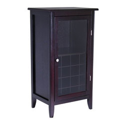 """Winsome - Espresso 16 Bottle Wine Cabinet - Elegant and convenient, this wine cabinet offers a great alternative in storing your favorite vintages. Finished in an espresso stain, this wine cabinet features 1 glass door with nickel - toned hardware. The door opens to storage for up to 16 bottles and 3 stemware hangers. Add this wonderful wine cabinet to your home to add a subtle and contemporary update to your decor. Features: -1 Glass door.-Silver - toned hardware.-Storage for 16 bottles.-Espresso finish.-3 Stemware hangers.-Product Type: Wine cabinet.-Collection: Espresso.-Finish: Espresso.-Hardware Finish: Nickel.-Distressed: No.-Powder Coated Finish: No.-Material: Solid and composite wood.-Hardware Material: Metal.-Scratch Resistant: No.-Tarnish Resistant: No.-Wine Bottle Capacity: 16.-Lockable: No.-Handle Design: Knob.-Shelves Included: Yes -Number of Interior Shelves: 1.-Adjustable Shelves: No..-Lighted: No.-Removable Serving Tray Included: No.-Ice Bucket Included: No.-Wine Glass Storage Included: Yes -Wine Glass Capacity: 12..-Glasses Included: No.-Adjustable Levelers: No.-Stackable: No.-Foldable: No.-Removable Bottle Racks: No.-Bottle Size Compatibility: 0.75 L.-Outdoor Use: No.-Commercial Use: No.-Recycled Content: No.-Eco-Friendly: No.-Gloss Finish: No.-Solid Wood Construction: No.-Door Attachment Detail: Hinges.-Refrigerated Cabinet: No.-Mirrored Back: No.Specifications: -UL Listed: No.-cUL Listed: No.-ISTA 3A Certified: No.-ISO 9000 Certified: No.-ISO 14000 Certified: No.Dimensions: -Overall Height - Top to Bottom: 40.2"""".-Overall Width - Side to Side: 21.89"""".-Overall Depth - Front to Back: 15.83"""".-Shelves: -Shelf Height - Top to Bottom: 13.58"""".-Shelf Width - Side to Side: 18.91"""".-Shelf Depth - Front to Back: 13.43""""..-Overall Product Weight: 52 lbs.Assembly: -Assembly Required: Yes.-Tools Needed: All tools included.-Additional Parts Required: No.Warranty: -Product Warranty: Replacement parts within 60 days from date of purchase."""