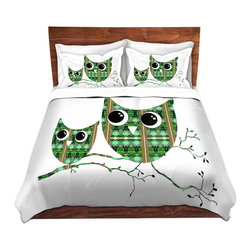DiaNoche Designs - Duvet Cover Twill by Susie Kunzelman - Owl Suspenders Green Brown - Lightweight and soft brushed twill Duvet Cover sizes Twin, Queen, King.  SHAMS NOT INCLUDED.  This duvet is designed to wash upon arrival for maximum softness.   Each duvet starts by looming the fabric and cutting to the size ordered.  The Image is printed and your Duvet Cover is meticulously sewn together with ties in each corner and a concealed zip closure.  All in the USA!!  Poly top with a Cotton Poly underside.  Dye Sublimation printing permanently adheres the ink to the material for long life and durability. Printed top, cream colored bottom, Machine Washable, Product may vary slightly from image.
