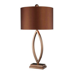 Dimond Lighting - Dimond Lighting D1712 Dale Espresso Table Lamp - Dale Table Lamp in Coffee Plating with Copper Faux Silk Shade with Slate Grey Faux Silk Liner