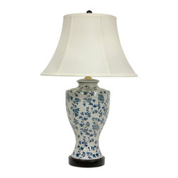 "Oriental Furniture - 27"" Blue and White Flower Vine Lamp - High-shouldered ceramic lamp with fishtail bottom fitted on a wooden lamp base. Features an intricate Ming blue and white rose and vine pattern, finished in an iced crackle over glaze for an antiqued look. Includes round white lamp shade and dark wood base. Hardware is UL approved and uses standard U.S. light bulbs."