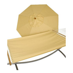 Phat Tommy - Umbrella and Hammock Set in Cornsilk - The Phat Tommy Sunbrella Quilted Reversible Hammock is the best outdoor acrylic dyed fabric. The Phat Tommy Sunbrella Hammock is part of our Outdoor Oasis Line and is our most durable and beautiful outdoor hammock. Ready to hang under the shade of two trees, between post, or mounted on a sturdy Phat Tommy stand. Sunbrella fabric is more naturally fade resistant under prolonged sun exposure, so your shade solution stays beautiful for years of use and enjoyment.
