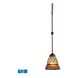 Landmark Lighting - Landmark Lighting Glass Leaf 70087-1-LED 1-Light Pendant in Tiffany Bronze - LED - 70087-1-LED 1-Light Pendant in Tiffany Bronze - LED Offering Up To 800 Lumens belongs to Glass Leaf Collection by Landmark Lighting With An Attractive Pattern Of Brown And Olive Tones, The Glass Leaf Collection Is A Refined Series Of Art Glass Arranged Into Layered Motifs. The Highlight Of This Series Is The Banding Of Cast Glass Leaves That Have A Beaded Center Stem That Separates The Two Rows Of Leaves. Finished In Tiffany Bronze, The Neutral Tones Blend With A Myriad Of Room Settings. - LED Offering Up To 800 Lumens (60 Watt Equivalent) With Full Range Dimming. Includes An Easily Replaceable LED Bulb (120V). Pendant (1)