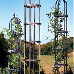 Garden Obelisk - Give winding vines a place to climb, and create an amazing outdoor atmosphere at the same time. I love that these metal garden structures are beautiful with or without climbing plants.