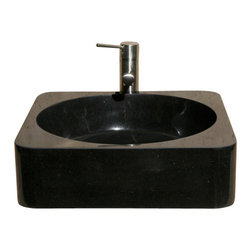 The Allstone Group - V-VSR18 Black Granite Polished Vessel Sink - Natural stone strikes a balance between beauty and function. Each design is hand-hewn from 100% natural stone.  Vessel sinks can be the most inspiring feature in a bathroom, adding style and beauty to any bath space.  Stone not only is pleasing to the eye but also has the feel of something natural and solid.