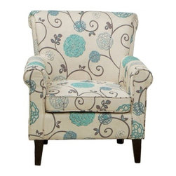 Flowered Fabric Club Chair - Classic style gets a modern update in the Flowered Fabric Club Chair. This comfy chair combines a classic look of rolled arms and back with plush cushioning with a fresh cream, aqua blue, and grey floral print. Softly padded with a sturdy frame, this chair is sure to be a household favorite.About Best Selling Home Decor Furniture LLCBest Selling Home Decor Furniture LLC is a US-based company dedicated to providing you with a wide variety of fine furniture. With sales and manufacturing offices in Europe and China, as well as the ability to ship to anywhere in the world, no one is excluded from bringing these lovely pieces home. From outdoor to indoor furniture, children's furniture to ottomans and home accessories, all your needs will be met with attractive, high quality products that will last.