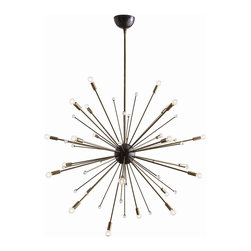 """Arteriors - Imogene Large Chandelier, Vintage Brass - Inspired by a trip to Paris, this 24 light modern starburst design in polished nickel or vintage brass is the perfect choice if you want drama, lots of light and a mid-century look. Shown with small clear globe bulbs.  This product is appropriate for an interior or exterior location that is subject to condensation or moisture such as a bathroom, indoor pool, or covered patio.  Adjustable height: 46 - 58"""" h  Socket Wattage: 25w  Bulb: B10 Incandescent  Bulbs not included."""