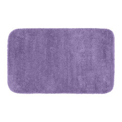 None - Plush Deluxe Wisteria 24x40 Bath Rug - Relish the luxurious softness of this purple Plush Deluxe bathroom collection rug. Add a note of tasteful color to relaxing space,while enjoying the easy-to-clean features of nylon and the added safety of each rug's non-skid backing.