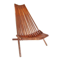 Danish Slat Teak Folding Lounge Chair -
