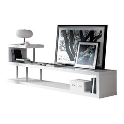 "VIG Furniture - WIN5 White Lacquer S Shaped Design Entertainment Center - The WIN5 entertainment center is a great addition for any living room looking to add a touch of modern design. The console is crafted from solid wood products with a stunning white high gloss lacquer finish. It features a unique S shaped design with polished metal supports on the left to that add to the overall look. The top are can support up to a 50"" TV making it a very versatile piece."