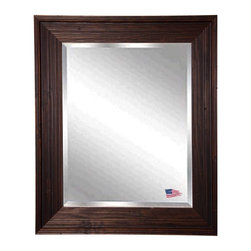 Rayne Mirrors - American Made Barnwood Brown Beveled Wall Mirror - This wall mirror is naturally distressed and beautiful with a carved wood texture. Its subtle brown and cinnamon color scheme will add a warm country charm to any space.  Rayne's American Made standard of quality includes; metal reinforced frame corner  support, both vertical and horizontal hanging hardware installed and a manufacturers warranty.
