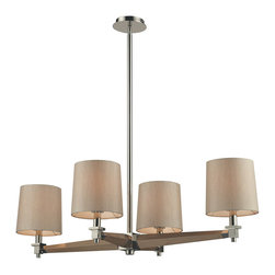 Elk Lighting - Elk Lighting 31336/4 Jorgenson 4 Light Chandelier in Taupe Wood & Polished Nicke - 4 Light Chandelier in Taupe Wood & Polished Nickel belongs to Jorgenson Collection by Elk Lighting The Jorgenson Collection Stylishly Bridges The Gap Between Mid-Century Modern Furniture Design And Lighting.��_��__ This Collection Was Designed Using Solid Wood That Emulates The Tapered Angle Of Fine Furniture Legs And Angular Metalwork That Compliments Its Sleek Style.��_��__ Choose Between Two Combinations Of Taupe Wood, Polished Nickel Metalwork And Champagne Fabric Shades, Or Mahogany Finished Wood, Satin Brass Metalwork And Tan Crosshatch Textured Linen Shades. Chandelier (1)