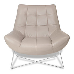 Zuri Furniture - Medici Tufted Leather Modern Accent Chair, Beige, Beige - The sleek and functional Medici contemporary accent chair can be used as an inviting side chair in your bedroom or home office or as a beautiful statement piece in your living room. Featuring tufted aniline top grain leather upholstery and stainless steel base, the Medici is available in rich cream or red.