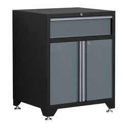 Newage Products - NewAge Products Pro Series Grey One Drawer with  2-door Base Cabinet - All of the heavy-duty strength of our Pro Series cabinets,but with a 6-inch tool drawer built to withstand extra-heavy loads.