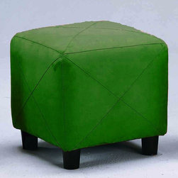 "Monarch - Hunter Green Micro-Fibre 18""H Ottoman - Covered in hunter green micro-fibre, this square 18"" H ottoman features sturdy solid wood legs and a plush top cushion to sit or rest your feet on. Liven up your living area or bedroom with this stylish ottoman that will be a cool and practical addition to your home.; Some assembly required; Dimensions:"