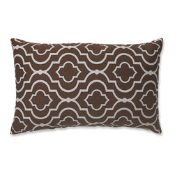 Pillow Perfect - Pillow Perfect Donetta Chocolate Rectangular Throw Pillow - Add the perfect blend of style and comfort to any space in your home with this brown and white geometric throw pillow from Pillow Perfect. This pillow features lovely knife edging and a durable cotton cover.