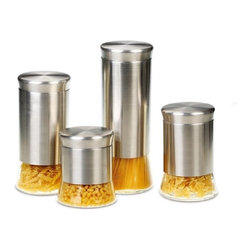 None - Flairs Stainless Steel 4-piece Canister Set - These stainless steel canisters provide convenient access to your dry goods while keeping contents fresh. A clear peek-view window offers each canister easy identification.