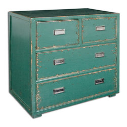 Uttermost - Uttermost 24369  Aquias Hand-Painted Accent Chest - Hand painted, solid fir wood in distressed aqua finish accented by brushed steel pulls on four dovetail drawers.