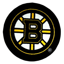 Fanmats - NHL Boston Bruins Hockey Puck Shaped Round Accent Rug - Features: