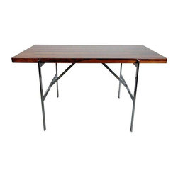 Used Milo Baughman Rare Rosewood & Chrome Desk - Hello gorgeous! An exceptional 1960's Milo Baughman early and rare rosewood and chrome table for Thayer Coggin Institutional. Made in the USA.