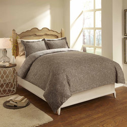 None - Paisley 3-piece Duvet Cover Set - This three-piece duvet cover set establishes an elegant tone for your bedroom. The 300-thread count cotton sateen offers a luxurious feel,and it's reversible so you don't need to commit to one look. This lovely taupe set is machine washable.