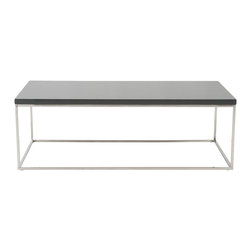 Euro Style - Teresa Rectangular Coffee Table - Gray Lacquer/Polished Stainless Steel - There's plain and there's perfect.  This collection of 4 Teresa table designs are not only perfectly designed for strength and timeless style, they work beautifully together.  Go for the group!