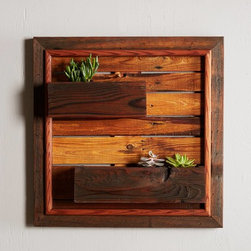 Reclaimed Wood Wall Planter - I love this reclaimed wood wall planter for indoors. It's a great way to have a small succulent garden inside.