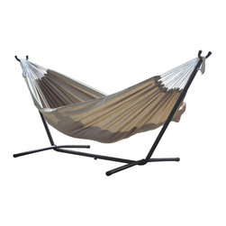 None - Sunbrella Hammock with Stand - This comfortable,quilted hammock features an appealing design. This hammock is perfect for any outdoor space.