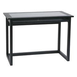 "Office Star Products - Computer Desk in Black - Computer Desk in Black; Computer Desk; Clean, contemporary design compliments most any decor; Made of select veneers and wood solids, finished in a beautiful Ebony finish.; Tempered glass in solid wood frame top shelf; Full width keyboard pull-out provides additional work surface; Office supplies organizer attached at the rear of pull-out shelf; Features easy tool-less assembly; Dimensions: 42""W x 22""D x 30""H"