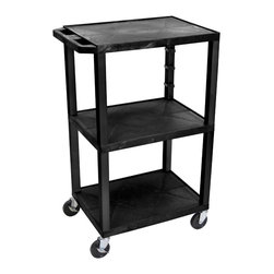 Luxor - H Wilson Presentation Cart - WT42 - H Wilson's WT Tuffy multi-purpose carts are made of high density polyethylene structural foam injection molded plastic shelves and legs that will not chip, warp, crack, rust or peel. Shelves and legs can be recycled.