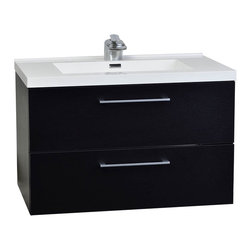 "CBI - CBI 33.5"" Wall-Mount Contemporary Bathroom Vanity Set Matt Black TN-TA860-BK - Featuring soft-closing drawer sliders, you'll never hear a drawer slam shut again. Constructed of white man-made stone counter, a high quality HDF cabinet in elegant Matt Black finish."